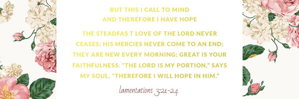 Verse of the Week: Lamentations 3:21-24